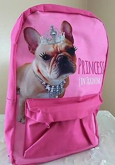 French-Bulldog-Dog-Princess-Tiara-Pretty-Pink-Backpack-Little-Kids-Overnight-Bag