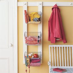 Keep your entryway tidy by setting up a storage bin for each family member.