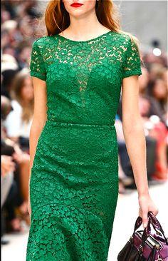 Burberry 2013 emerald green lace dress