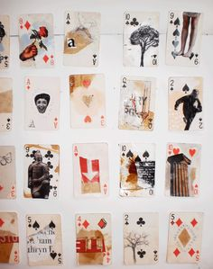 Using a deck of cards as a collage base - kids make a fun personal exploration body of work with the theme 'Soul Searching' yr 9-11