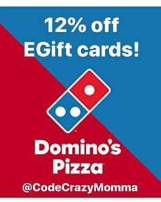 Domino's Pizza, save up to off eGift cards Discount Gift Cards, 1 Year, Pizza, Food, Meals