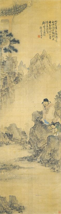 (Korea) 왕희지가 거위를 보다 by Owon Jang Seung-eop (1843- 1897). color on hanji. Private collection.