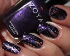 Abstract nail art with holographic stripes