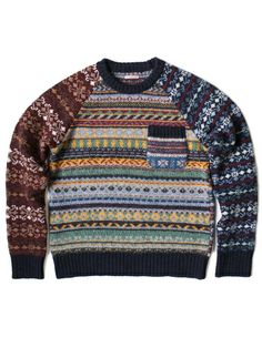 Patch pattern sweater knit | Fairisle clash | kapital jumper