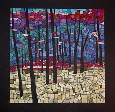 """""""Nature's Edifice"""" by Lori Miller. One in a series I've been working on representing the seasons. This work captures the color of late fall with just a few leaves left hanging. 20 x 20 created with fabrics"""