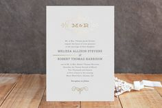 Ornate Monogram Foil-Pressed Wedding Invitations by Kristen  Smith at minted.com but a different kind of scroll