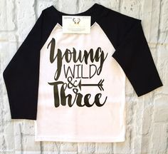 Happy Free Wild Three Is An Awesome 3rd Birthday Shirt For Any 3 Year Old Boy Or Girl Your Little One Will Be Rocking Out O