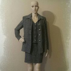 St John Suit St John 3pc suit. Black and White Tweed Knit. Excellent condition. Very comfortable. Jacket and Vest are a 6. Skirt is a 4. St. John Skirts Skirt Sets