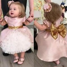 2018 Cute Pink Wedding Flower Girls Dresses Toddler Baby First Communication Dresses With Gold Sequins Bow Tiered Party Ball Gown Tea Length Toddler Flower Girl Dresses, Dresses Kids Girl, Girls Party Dress, Toddler Dress, Baby Dress, Dress Party, Party Gowns, Baby Girl Birthday Dress, Prom Party