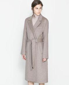 Image 2 of COAT WITH LAPELS AND BELT from Zara  Wish it came in other colors! Looks like it'd be so luxurious...