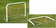 """Soccer Goal Post Steel Junior: Made of Steel, powder coated for durability and comes in 2 variants 1.5"""" & 2"""" steel tube. Foldable side arms and horizontal uprights for easy carriage, storage and transport. Includes net and anchors. Packed flat to reduce volume."""