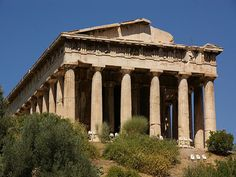 The Temple of Hephaestus, in Athens' agora, where Diocleides allegedly talked to one of the hermokopidai, Euphemus. Greek And Roman Mythology, Ancient Mysteries, Allegedly, Ancient Greece, Greek Islands, Athens, Gazebo, Temple, Outdoor Structures