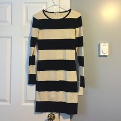 [Minnie Rose] rugby sweater dress Very cute cotton sweater dress from boutique designer Minnie Rose. Size small. Black and cream stripe. Good used condition. Very minor pulling by arm pit area. Minnie Rose Dresses