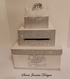 White Cinderella Bling  Wedding Card Box Diamond by SweetJonesin, $115.00