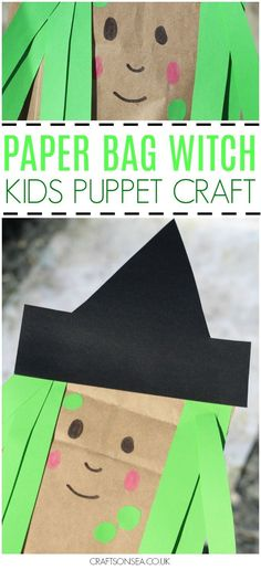 This cute paper bag witch craft for kids is easy for kids to make and can be used as a fun DIY puppet for Halloween too.