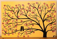 Yellow Tree Painting - Two Birds in a Tree Original Tree Art Painting