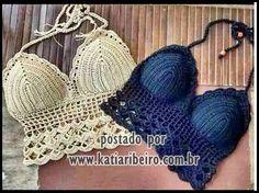 Cropped top crochet - Top em crochê com gráfico