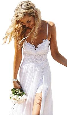 Ikerenwedding Women's Spagetti Straps Empire Backless Beach Lace Wedding Dress Summer Bridal Gown White US04