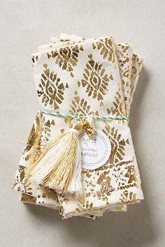gold floret cocktail napkins #anthrofave  http://rstyle.me/n/ugnkipdpe