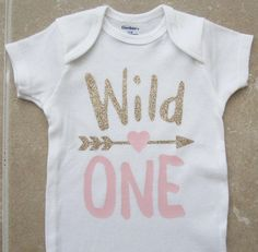 Wild One First Birthday Outfit - pink gold, arrow heart, tribal, boho