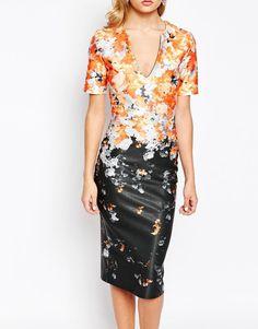 True Violet | True Violet Ombre Floral Pencil Dress at ASOS