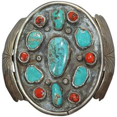 Navajo Silver Bracelet with Turquoise and Coral | From a unique collection of antique and modern collectibles and curiosities at https://www.1stdibs.com/furniture/more-furniture-collectibles/collectibles-curiosities/