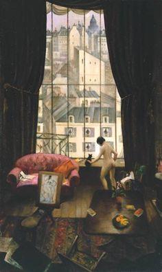 Christopher Richard Wynne Nevinson - A Studio in Montparnasse - 1926 ....................#GT