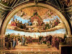 Rafael disputa del sacramento  registro terrenal, registro celestial  Cristo muestra sus llagas