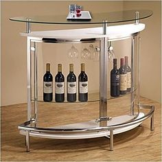 Bar Counter Pub Coaster Glass Table Hotel Wine Storage Beverage GUARANTEED NEW! Contemporary bar unit in white and chrome Tempered clear glass top and transparent acrylic outer shell Two large shelves and a stemware rack Coaster Contemporary Tempered Glass White Bar Unit The Bar Units and Bar Tables 5075 Bar Unit is minimalistic contemporary style serving piece and display piece in one The sleek design features a durable metal frame a demilune shape tempered glass top and smoked acrylic…