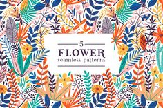 Bright exotic flower pattern by Maria Galybina on @creativemarket