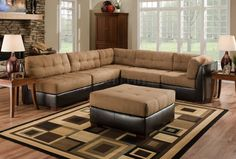 Camel Color Leather Sectional Sofa