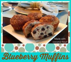Blueberry Muffins made with coconut flour & optional pecan topping. Grain & dairy free!  By www.aunaturalenutrition.com