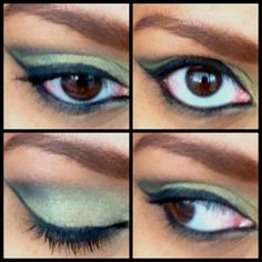 Black & green shephora eyeshadows.