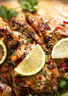 Close up of Lime Chicken on a plate, garnished with cilantro/coriander, chilli and fresh lime slices Best Grilled Chicken Marinade, Mexican Grilled Chicken, Chicken Marinades, Grilled Chicken Recipes, Coriander Cilantro, Cilantro Lime Chicken, Barbecue Recipes, Grilling Recipes, Vegetarian Grilling