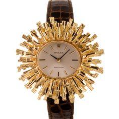 Rolex Geneva Lady's Gold Modernist Wristwatch 1970