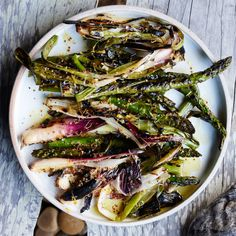 Grilled Asparagus and spring onions with lemon dressing {paleo; omit mustard/black pepper for AIP}