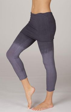 LVR Ombre Lightweight Foldover Yoga Capris in Black