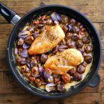 Sült csirke hagymás-tejszínes gesztenyeraguval Paella, Meat, Chicken, Ethnic Recipes, Lunch Ideas, Food Food, Cubs