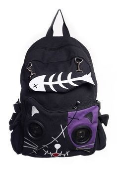 Banned Goth Punk Rock Emo Kitty Cat & Fishbone Music Speaker Backpack