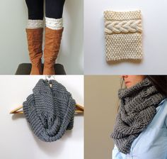 2 Knitting Patterns Oversized Cowl Infinity Scarf & by LewisKnits, $9.25