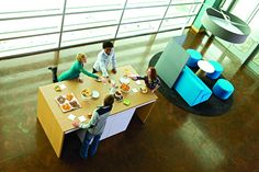 Looking for a break away from the gray? The Campfire Collection from Steelcase... and some snacks add color and fun to any office.