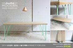 HomeMade Modern DIY The Easy hairpin leg Table - or with sprayed IKEA lerberg trestle leg for similar minimalist aesthetic
