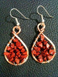 Red Jasper genuine semi precious  gemstone chips earrings, by BLLstudio