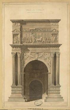 Naples, Arc d'Arragon [sic], servant d'entrée au château neuf : [élévation] Auteur Garrez, Pierre-Joseph (1802-1852)