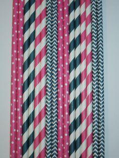 50 Navy Blue Pink Paper Straws Navy & Pink Stripes Dots Chevron, Mason Jar Straws, Rustic Wedding Straws Kids Birthday Bridal Baby Shower $5.99