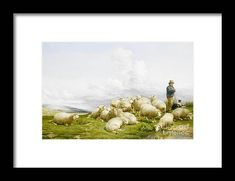 Thomas Sidney Cooper Framed Print featuring the painting Shepherd with sheep by MotionAge Designs Sheep, Sydney, Framed Prints, Painting, Design, Art, Art Background, Painting Art, Kunst
