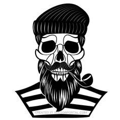 Skull of old sailor vector illustration.