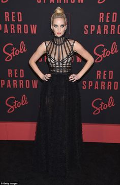 Starring role: Jennifer Lawrence opted for a very dramatic look for the New York premiere of her movie Red Sparrow on Monday night