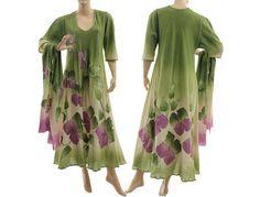 Handmade Blumen Kleid mit Schal, grün mit lila 42-46