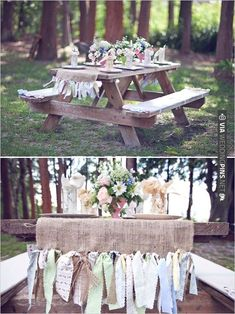 picnic table benches at wedding with ribbon table runner ties   VIA #WEDDINGPINS.NET